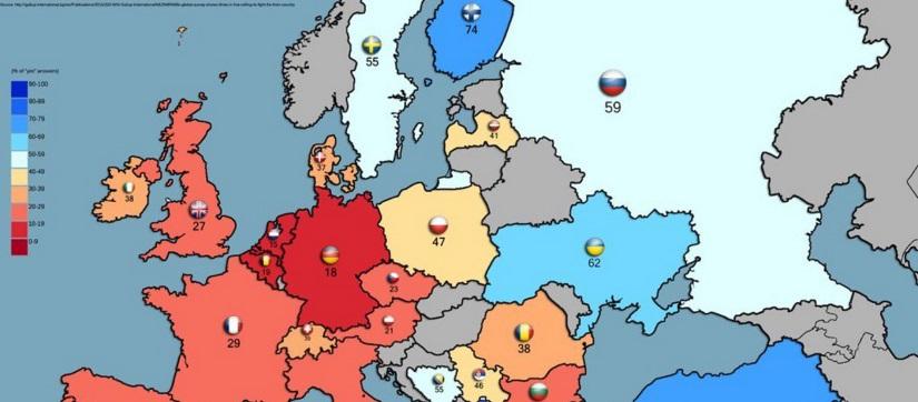 Ciekawy sondaż. Ilu Europejczyków jest gotowych walczyć za swój kraj? Sprawdź mapę!