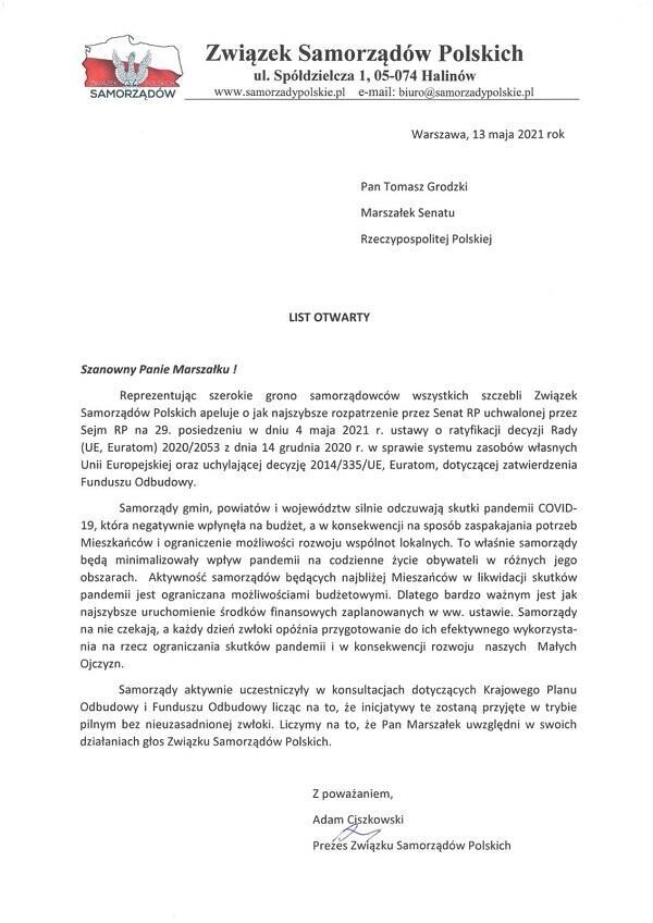 autor: list Związku Samorządów Polskich