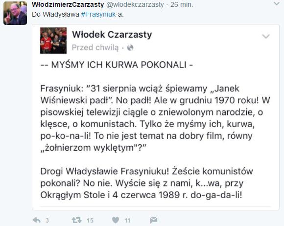Twitt @wlodekczarzasty / autor: Twitter @wlodekczarzasty