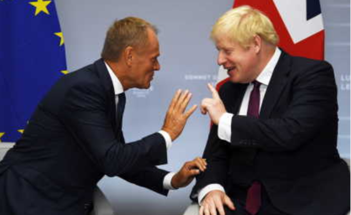 Donald Tusk i Boris Johnson / autor: PAP/EPA/NEIL HALL / POOL