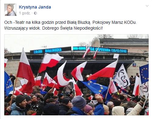 fot.screenshot Facebook/Krystyna Janda