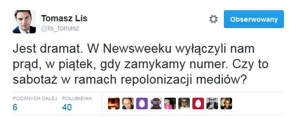 Fot.screenshot/Twitter.com/Tomasz Lis