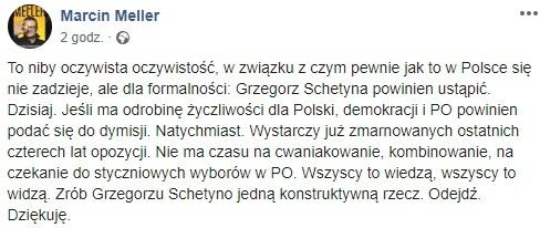 Wpis / autor: screen FB/Marcin Meller