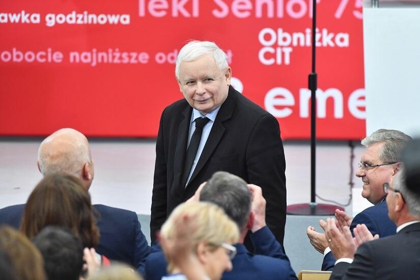 Prezes PiS Jarosław Kaczyński w Koszalinie / autor: PAP/Marcin Bielecki