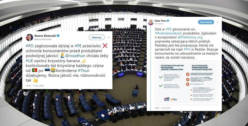 6f7ce2f6999149 Zakaz sprzedaży produktów podwójnej jakości! Ważne głosowanie i kolejny  podział wśród europosłów PO. Rozżalona Thun atakuje PiS