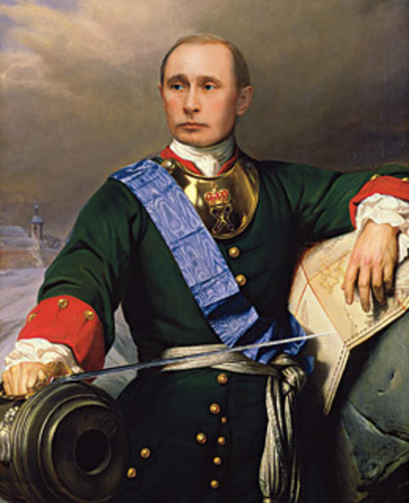 Photo-illustration; Painting of Peter the Great: Getty; Putin: Sergei Guneyev / RIA-Novosti for TIME
