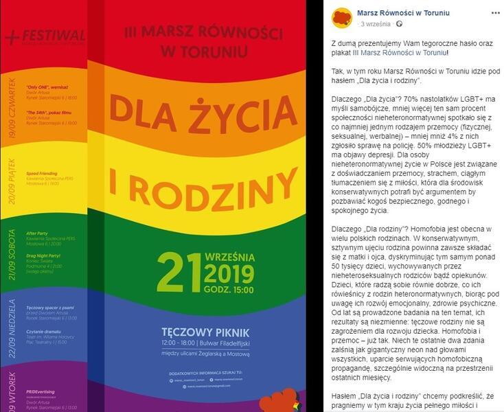 autor: screen Facebook Marsz Równości w Toruniu