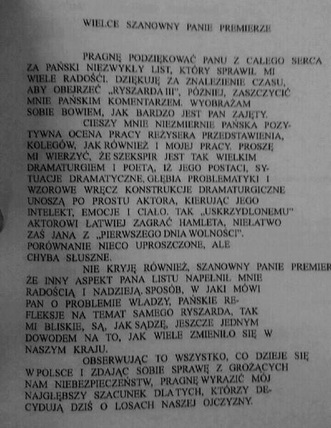 List Andrzeja Seweryna do Czesława Kiszczaka