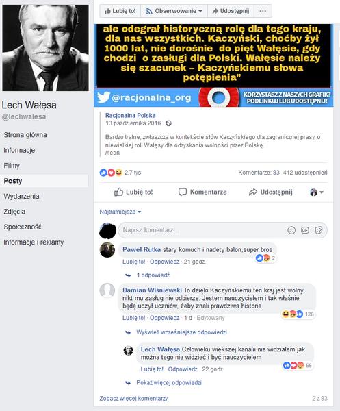 Screen Fb Lech Wałęsa / autor: wPolityce.pl/Fb Lech Wałęsa